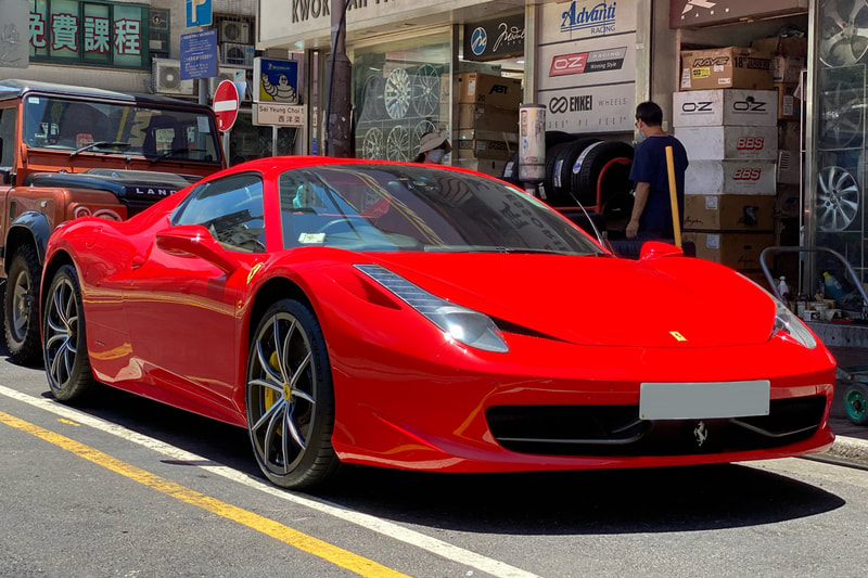 Ferrari Italia 458 and Ferrari Multispoke Wheels and forged wheels and wheels hk and tyre shop hk and 呔鈴 and michelin ps4s tyres