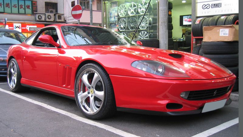 Ferrari 550 and 呔鈴 and kahn design wheels and wheels hk