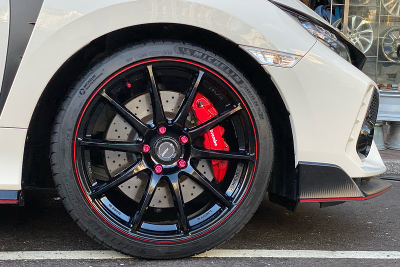 Honda Civic FK8 Type R and RAYS gram lights 57 transcend wheels and wheels hk and tyre shop hk and 呔鈴 and michelin ps4s tyres hk