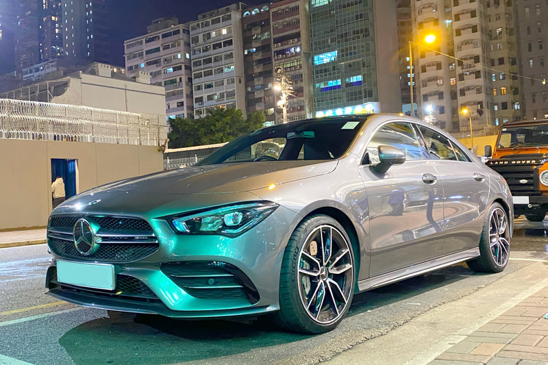 Mercedes Benz AMG C118 CLA 35 CLA35 and AMG 5 split spoke Wheels and wheels hk and Michelin PS4S tyres and 呔鈴
