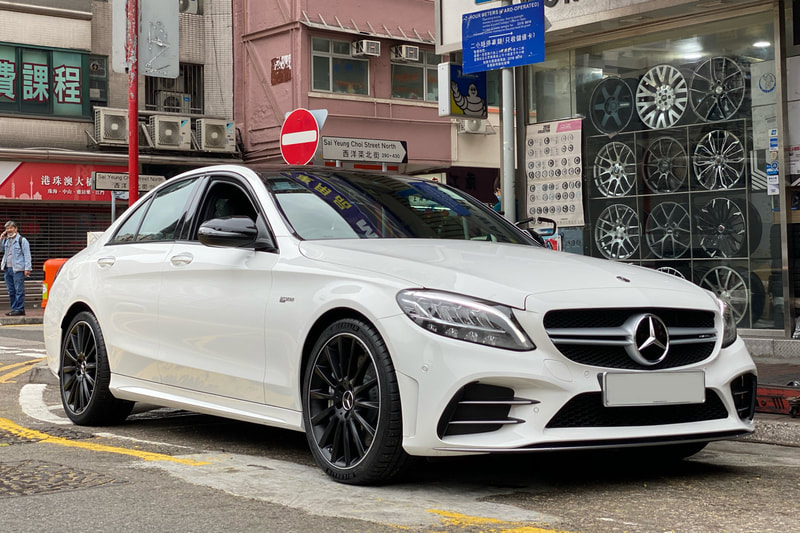 Mercedes Benz AMG C43 and AMG Multispoke Matt Black Wheels and 呔鈴