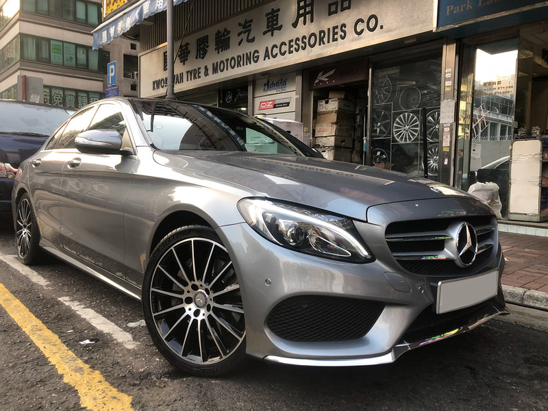 "Mercedes Benz W205 C-Class with 19"" AMG Multispoke Himilaya Gray"