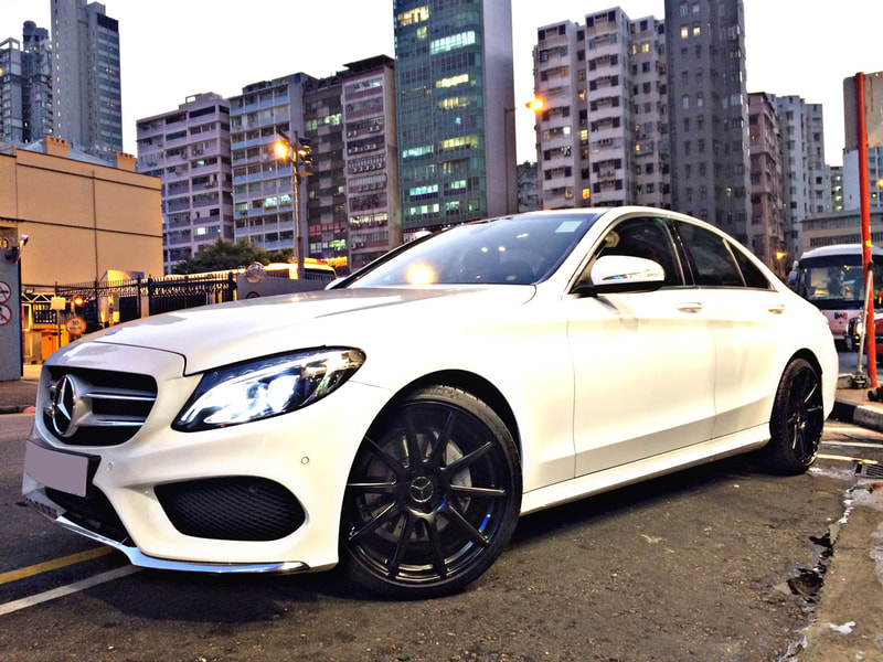 "Mercedes Benz W205 C-Class with 19"" Modulare Wheels B15 Evo Satin Black"