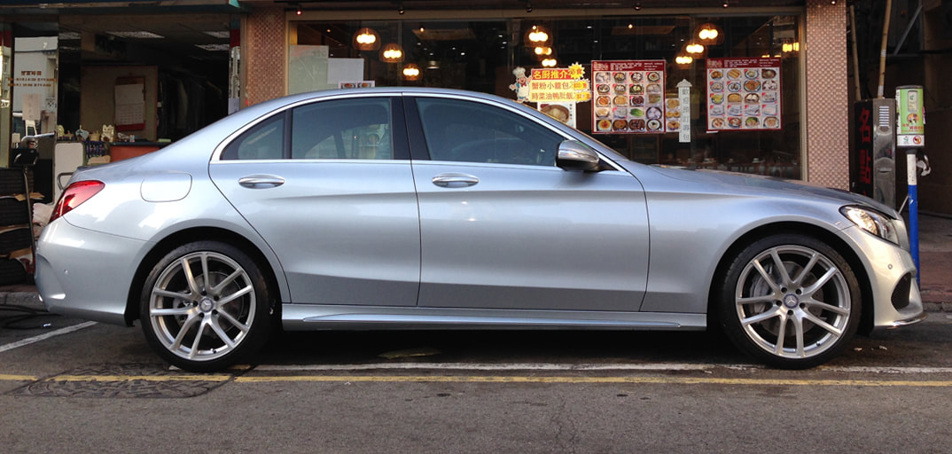 "Mercedes Benz W205 C-Class with 19"" Modulare Wheels B30 Silver"