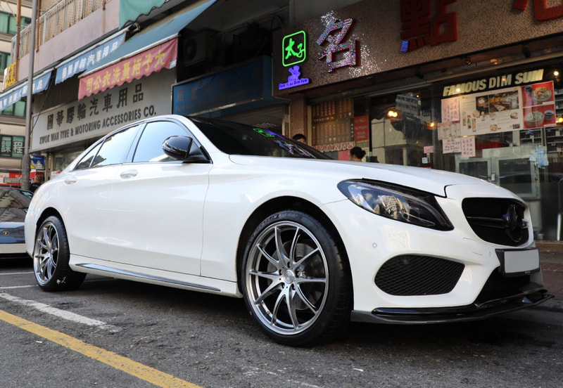 "Mercedes Benz W205 C Class with 19"" RAYS Volk Racing G25 ND"