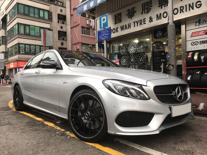 "Mercedes Benz W205 C43 AMG with 19"" TWS Forged 107M Flat Black"