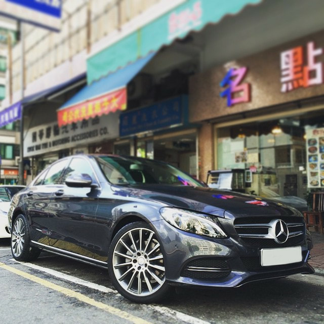 "Mercedes Benz W205 C250 with 19"" AMG Multispoke Himilaya Gray"