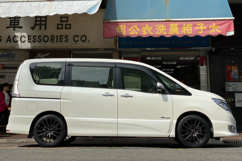 NIssan C26 Serena and RAYS 57XMA wheels and wheels hk and michelin ps4 tyres and 呔鈴
