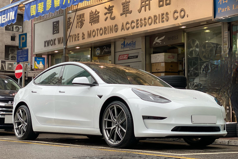 Tesla Model 3 and BBS CIR wheels and tyre shop hk and michelin ps4s tyres and 呔鈴